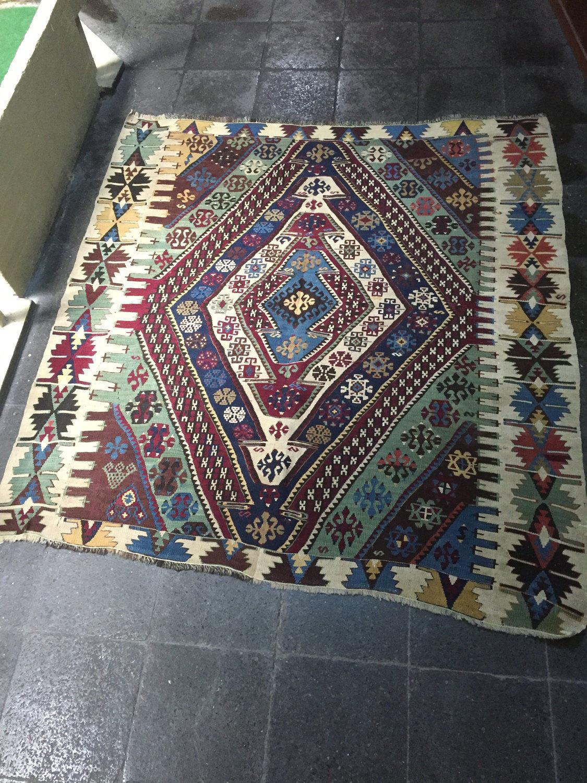 Oushak Kilim Rug,Vintage Runner Rug,Door Mat,Oriental Rug,Bohemian Rug