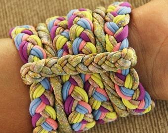 Bracelets Ligth Colors and Gold, Lycra 100% Handmade