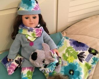 "Fleece Set, Handmade to fit like American Girl® Doll Clothes, 18 inch doll clothes, 18"" Doll Clothes"