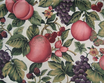 Apples Grapes Butterflies Fabric By the Yard Cotton 36 Inches Long