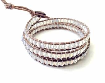 Handmade Opal Quartz Triple Wrap Bracelet