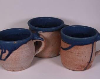 Mugs, Ale Mugs, Pottery Mugs, Coffee Mugs, Stackable Mugs, Blue Mugs, Glazed Mugs, Stoneware Mugs, Mug Set