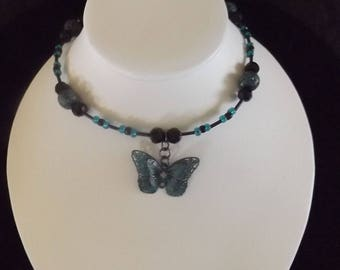 Vintage Style Butterfly Beaded Necklace
