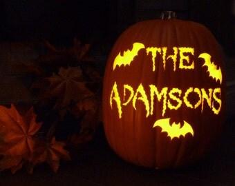 Custom carved pumpkin with family name, family name jack-o'-lantern, carved foam pumpkin, pumpkin carving, Halloween pumpkin, halloween gift