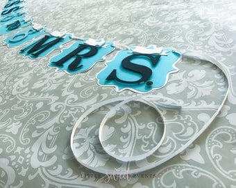 Miss to Mrs Banner, Breakfast at Tiffany's Banner, Blue Bridal Shower Banner, Blue Baby Shower Banner, Tiffany's banner, Tiffany & Co.