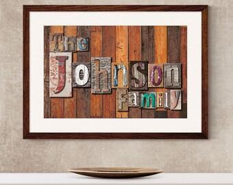 Family Name Art Print - Wooden Letterpress Blocks,Personalised Family Name Print,Surname Art Print,Family Print,Second Name Print
