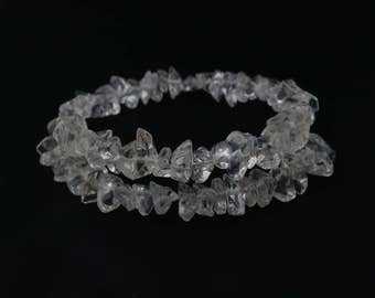 Clear quartz crystal chips memory wire beaded bracelet