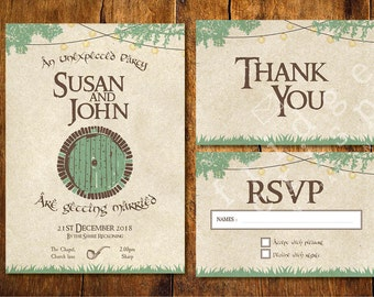 Hobbit style Wedding Invitation, wedding, Lord of the rings, Shire, Themed, unusual, invites, RSVP card, Thank you, download, tolkien, party