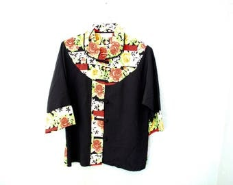 Vintage Rose Floral Collar Top *Flat Rate Shipping* [Cute Vintage Top Shirt Blouse Women's Size 13 Large]