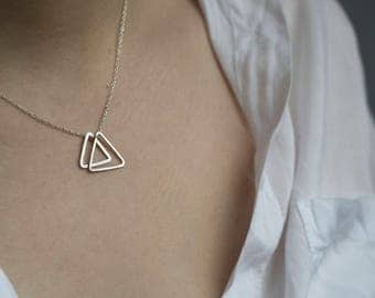 Handmade sterling silver double triangle necklace
