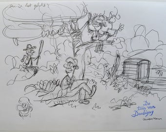Original pencil sketch-the garden of Daubigny