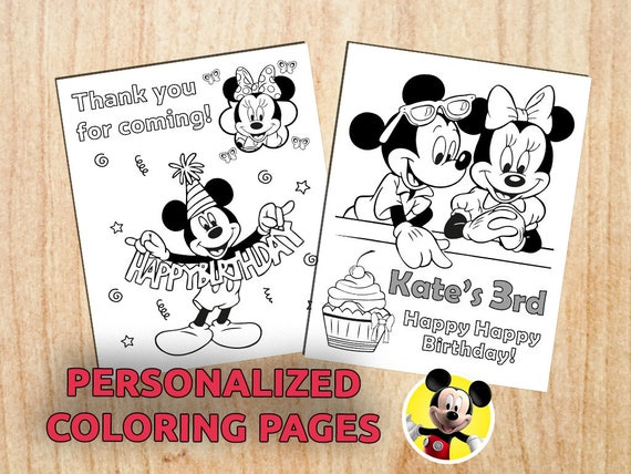Mickey & Minnie Mouse Birthday Party Coloring Pages