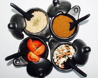 Organic Earth-Made Salsa Dish with spoon