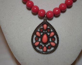 Red and Coral necklace with Gorgeous Coral & Oxidized Silver Stone Pendant