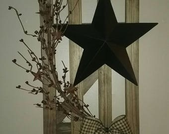 Wooden Prim Fence Barn Star Pip Berries Country Decor Primitive Decor Rustic