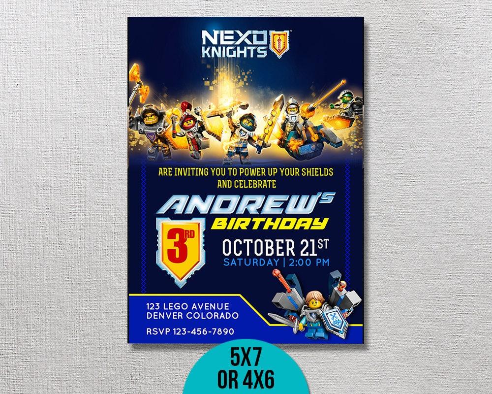 Lego Nexo Knights Invitation, Lego Nexo Birthday, Nexo Knights Party ...