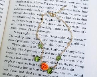 Dainty peridot, pearl, and rosebud bracelet or choker chain