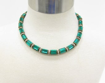 One-of-a-Kind Vintage Emerald Cut Green Rhinestone Bead Necklace