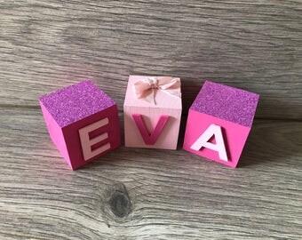 Handmade Glitter Name Blocks