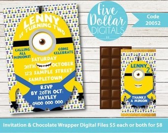 Minions Personalised Digital Birthday Invitation & Chocolate Candy Bar Wrapper Printable