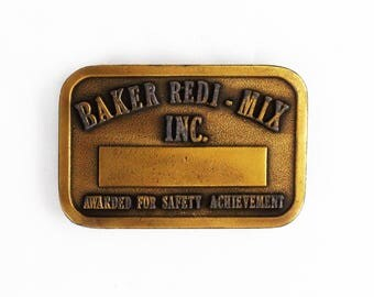 Vintage Baker Redi-Mix INC Belt Buckle Hit Line USA Safety Achievement Award