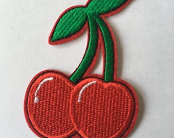 Cherries Pair Embroidered Patch  Iron Or Sew