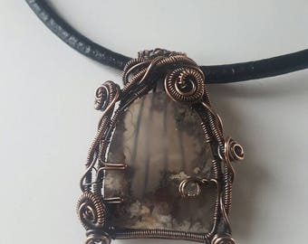 Fairy door pendant, fairy door necklace, plume agate pendant, plume agate necklace, fairy door, fairy, wire wrapped necklace, wire wrapped