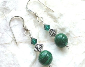 Malachite Gemstone And Emerald Sterling Silver Celtic Earrings