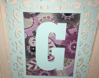 Fabric covered framed initial- Choice of colors & initial