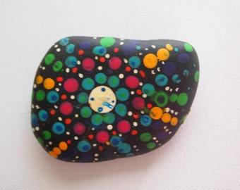 Hand painted, mandala, garden rock stone