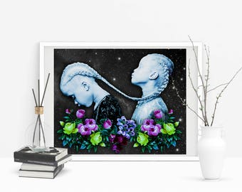 Gemini Print - Gemini Constellation - Zodiac Wall Art - Gemini Poster - Zodiac Art Print - Constellation - Astrology Print - Astronomy Print
