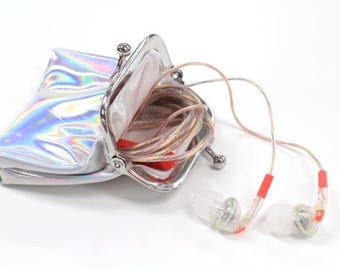 Skullcandy Bombshell Clear Coral Women's Range In Ear Headphones with Silver Purse, Pouch. Gifts For Her, Gifts For Girls, Gifts For Mum.