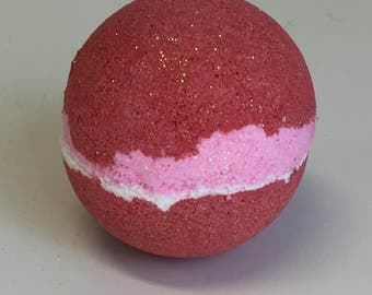 LARGE 5.8 oz Bubbling BATH BOMB** Fizzy* Gift inside****Strawberry*Ready To Ship
