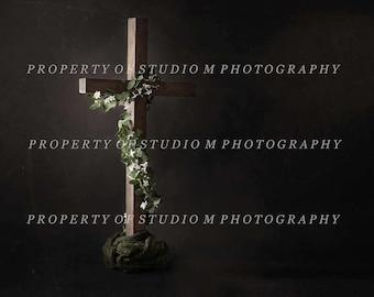 Easter Cross Digital Backdrop