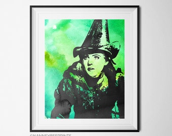 Wicked the Musical Elphaba Watercolor, Art Print, Printable, 8x10, Digital Download