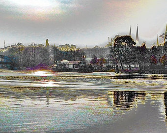 """limited artistic Photography """"Lübeck at the Trave"""" by Thomas de Bur Germany 100% cotton canvas gallery photograph certificate"""