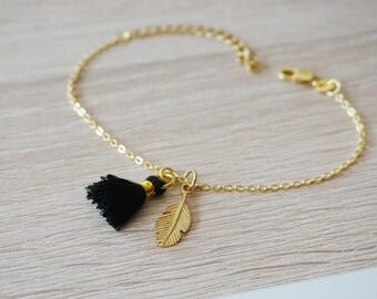 Golden Feather tassel bracelet 925 Silver - design trend