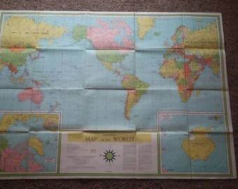 Vintage 1960's World Map
