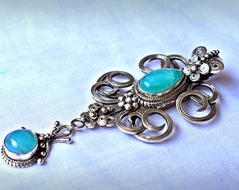 Handmade necklace, silver 950 with andean opal stones.