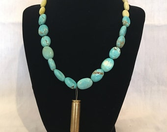 Turquoise Necklace with 6.8 Bullet Casing