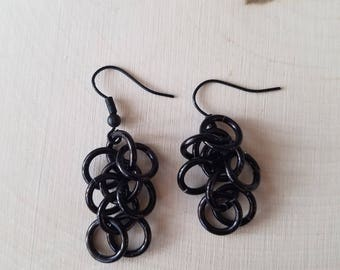 Black Shaggy Loops Earrings