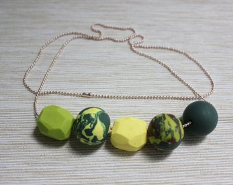 Handmade polymer clay beaded necklace-made by Claycious