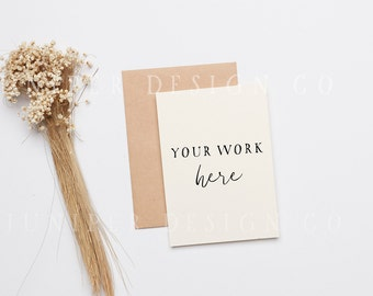 Simple Invitation Mockup, Styled Stock Photography, Dried Flowers, Minimal (8523)