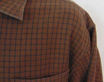 Vintage Marshall Fields Mens Shirt XL Brown Black Windowpane Plaid Long Sleeve Cotton