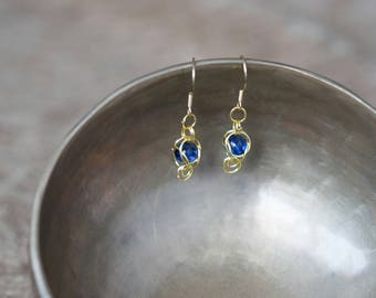 Chain Maille Captured Earrings Gold and Blue