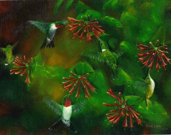 hummingbird print, ruby-throated hummingbird, bird art, bird painting, birds in flight, flying hummingbirds, summer, outdoors