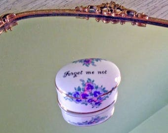 """REDUCED! Tiny English Bone China Ring Box, """"Forget me not"""" by Crown Staffordshire - minor flaw*"""