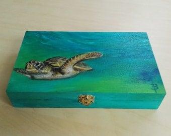 Storage Box Turtle. Hand-painted wooden box