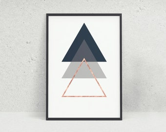 Blue Grey Rose Gold Copper Triangle Geometric Pattern Wall Art Print