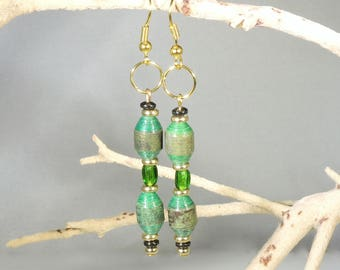 Green and Gold Dangle (Upcylced Paper Bead Earrings/ER0002)